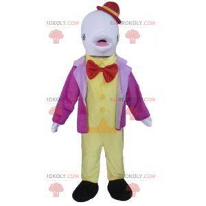 Fantasie o mascote golfinho branco com um chapéu -