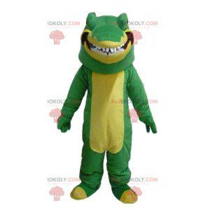 Velmi realistický a zastrašující zelený a žlutý krokodýlí