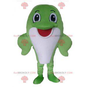 Mascot gran pez delfín verde y blanco - Redbrokoly.com