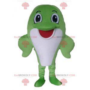 Mascote grande peixe golfinho verde e branco - Redbrokoly.com