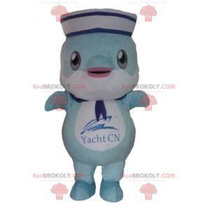 Blauwe dolfijnvis mascotte gekleed als een zeeman -