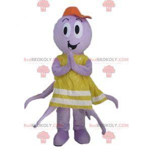 Lila Oktopus-Maskottchen mit gelber Weste - Redbrokoly.com