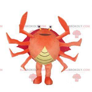Mascote caranguejo gigante vermelho e amarelo alaranjado de