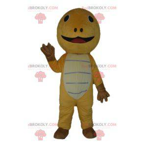Velmi roztomilý žlutohnědý a béžový maskot želvy -