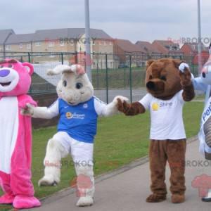 4 mascottes twee beren een wit konijn en een draak -