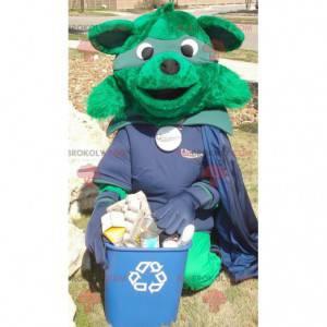 Grünes Fuchsmaskottchen gekleidet im Superheldenkostüm -
