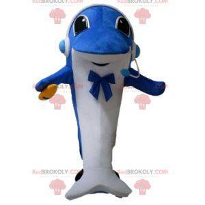 Mascote golfinho azul e branco com fones de ouvido -