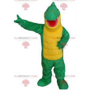 Kjempegrønn og gul krokodille maskot - Redbrokoly.com