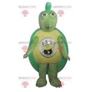 Originales und lustiges Maskottchen der grünen und gelben