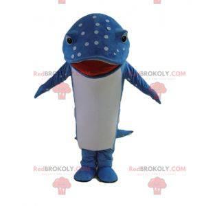 Mascotte di pesce delfino blu e bianco con punti -