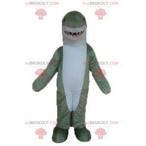 Realistic and impressive gray and white shark mascot -