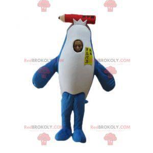 Modré a bílé maskot delfín kosatka s obří tužkou -