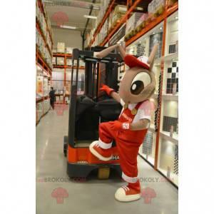 Maskot hnědé mravenci v červených montérkách - Redbrokoly.com