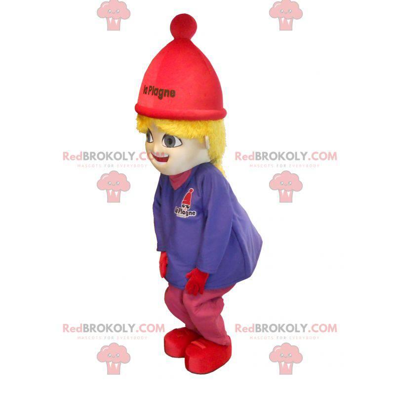 Mascot little blonde girl in ski outfit - Redbrokoly.com