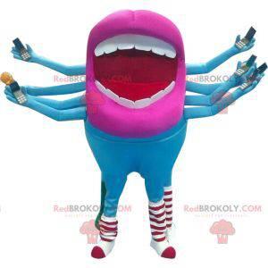 Niebiesko-różowa maskotka usta obcych - Redbrokoly.com