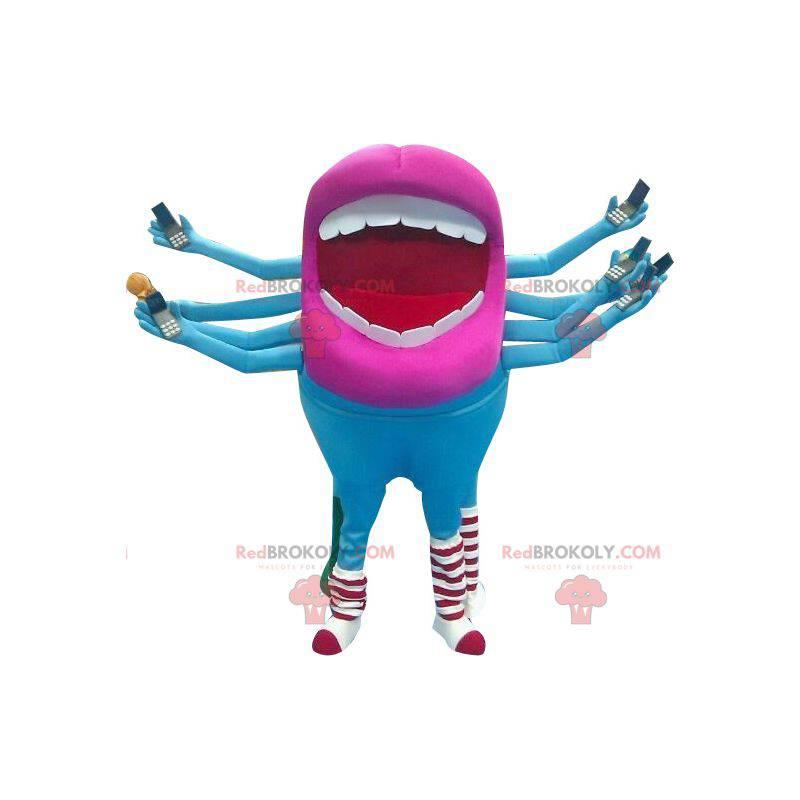 Modré a růžové cizí ústa maskot - Redbrokoly.com