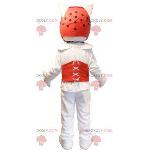 Hvit hundemaskot i taekwondo-antrekk - Redbrokoly.com