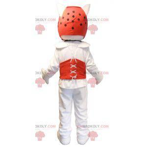 Maskot bílý pes v taekwondo oblečení - Redbrokoly.com
