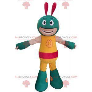 Mascota robot alienígena verde y amarillo - Redbrokoly.com