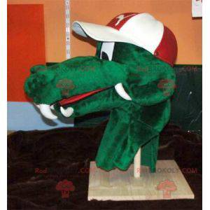 Grønn krokodillehodemaskot - Redbrokoly.com