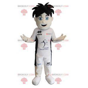 Sportowa maskotka chłopca z niebieskimi oczami - Redbrokoly.com