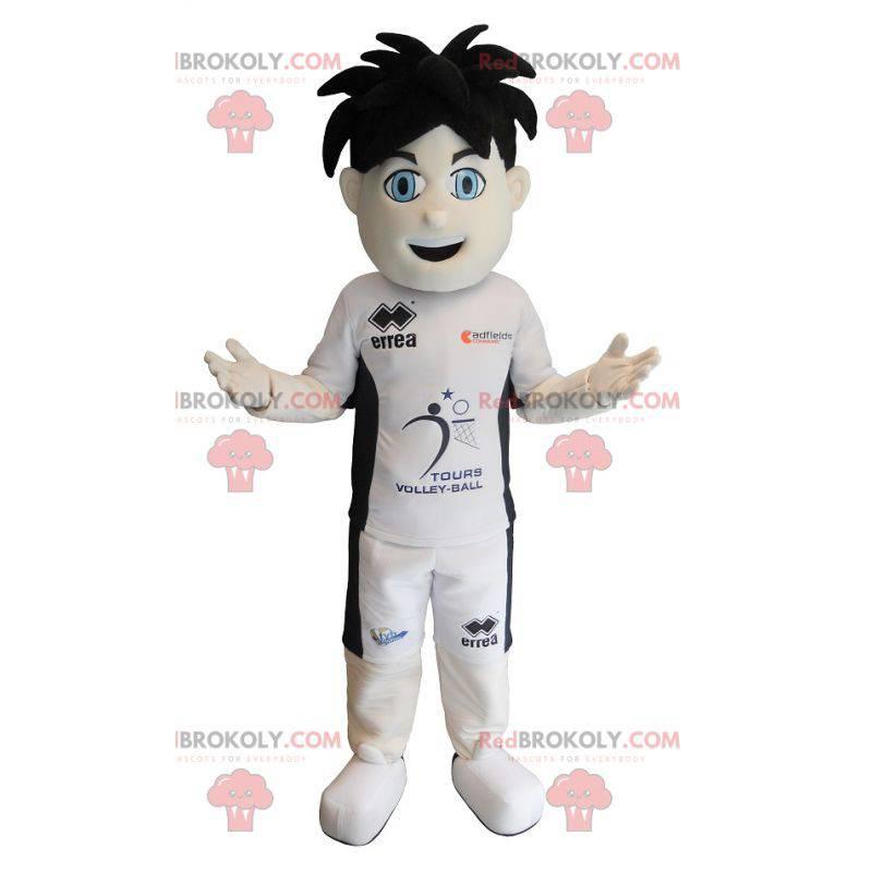 Sporty boy mascot with blue eyes - Redbrokoly.com