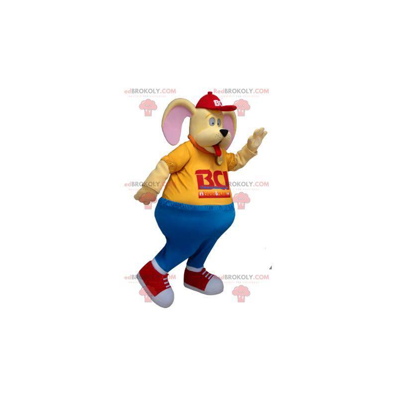 Legrační žlutý pes maskot - Redbrokoly.com