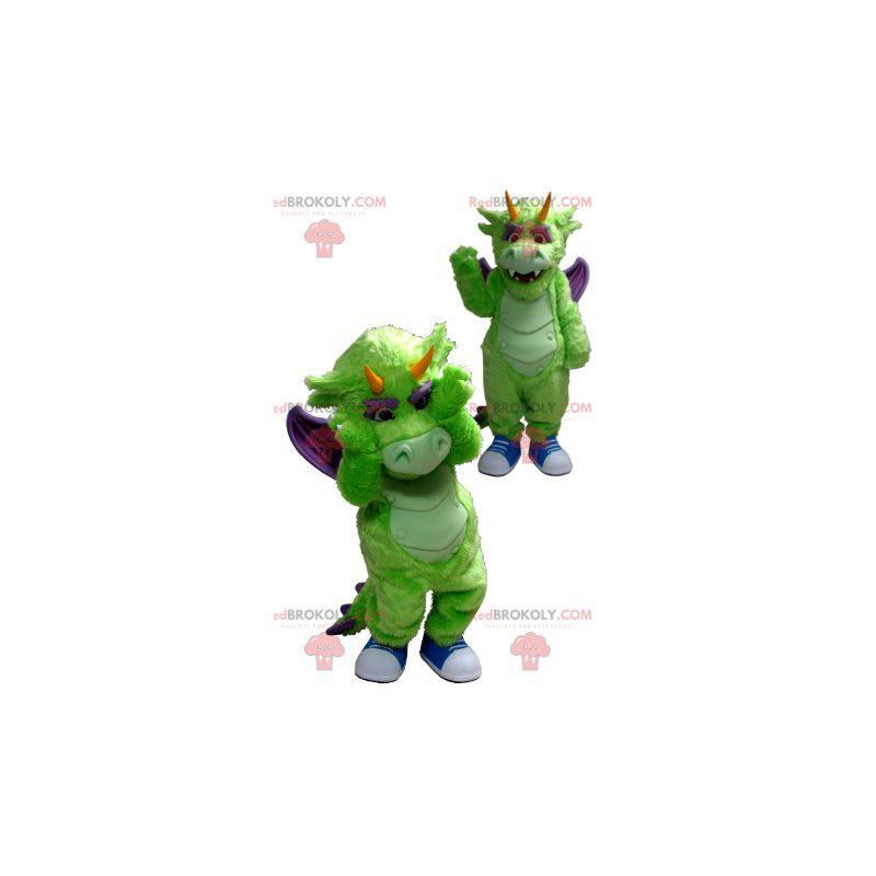 Grünes und lila Drachenmaskottchen - Redbrokoly.com