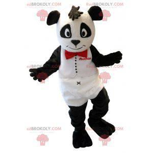 Weißes und schwarzes Teddybärmaskottchen. Auchan Panda