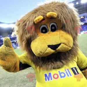 Yellow lion mascot with a brown mane - Redbrokoly.com