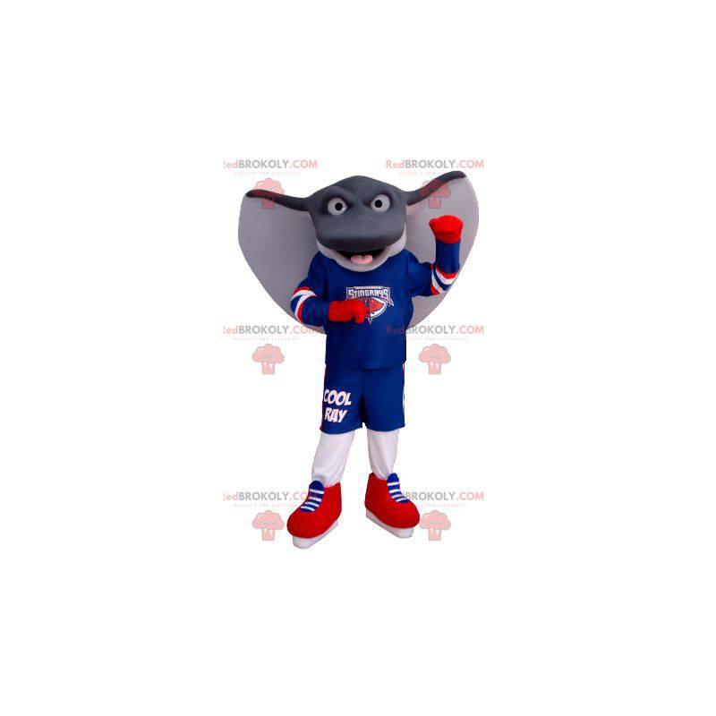 Gray and white giant ray mascot in sportswear - Redbrokoly.com