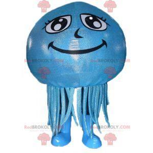 Giant and smiling blue jellyfish mascot - Redbrokoly.com