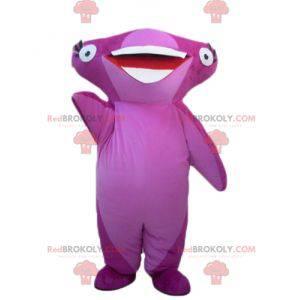 Velmi usměvavý růžový maskot žralok kladivoun - Redbrokoly.com