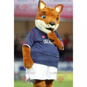 Maskot oranžová a bílá liška ve sportovním oblečení -