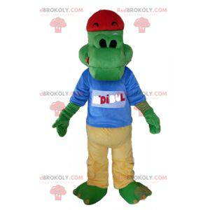 Green crocodile mascot dressed in yellow and blue -