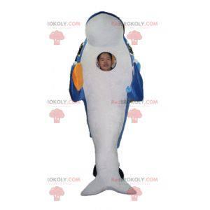 Mascote golfinho gigante e muito realista de azul e branco -