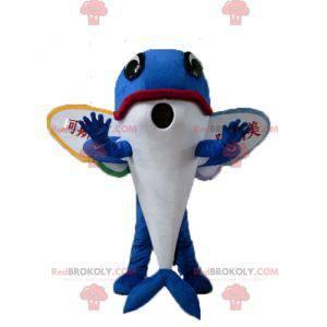 Blauwe dolfijn vliegende vis mascotte met vleugels -