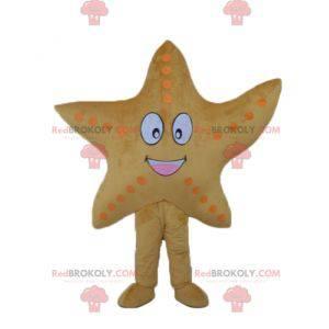 Mascote estrela do mar amarela gigante e sorridente -