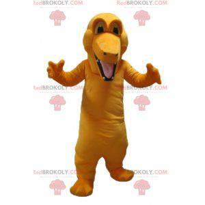 Giant and colorful orange crocodile mascot - Redbrokoly.com