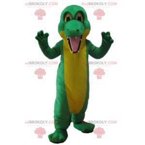 Obří zelený a žlutý krokodýlí maskot - Redbrokoly.com