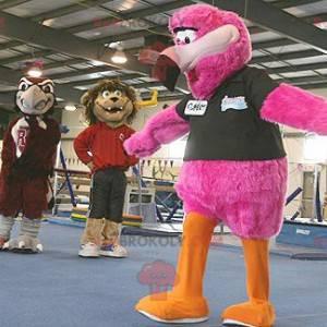 Giant flamingo mascot all hairy - Redbrokoly.com
