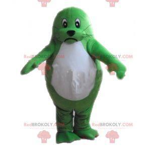 Mascota de nutria verde y blanca gigante y conmovedora -