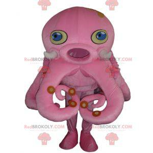 Giant pink octopus mascot with blue eyes - Redbrokoly.com