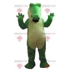 Velmi působivý baculatý maskot zeleného a bílého krokodýla -