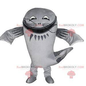 Mascot pesce gatto gigante pesce grigio grande - Redbrokoly.com