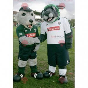 2 maskoti šedých psů ve sportovním oblečení - Redbrokoly.com