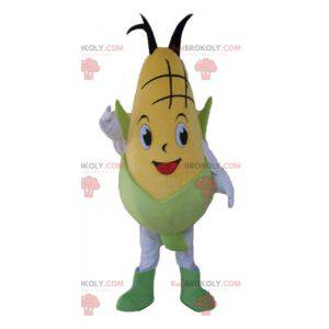 Giant and smiling yellow and green corn ear mascot -