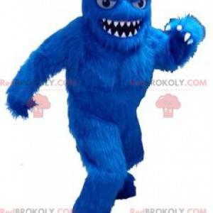 Celý chlupatý modrý maskot yeti s velkými zuby - Redbrokoly.com