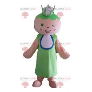 Grootmoeder vrouw mascotte met een bloemkool op haar hoofd -