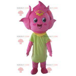 Zeer glimlachende leliebloem mascotte roze bloem -